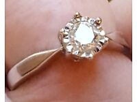 18 ct White Gold Engagement ring with a round brilliant cut 0.50 ct diamond with certification