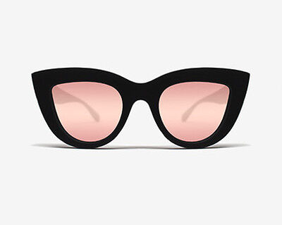 NEW QUAY Kitti Black/Pink Mirror Sunglasses