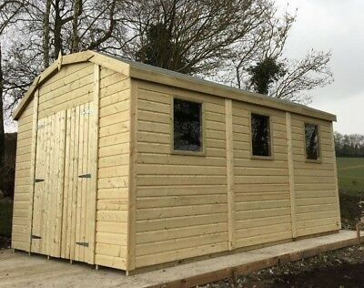 22 ft x 10 ft 19mm Dutch Barn Tanalised Shed 3 windows