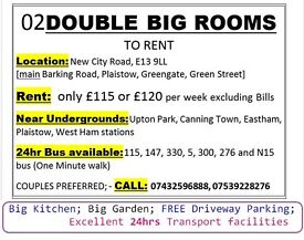 02 DOUBLE ROOMS - TO RENT for only £115 or £120, Plaistow Greengate/ Green Street, Upton Park Boleyn