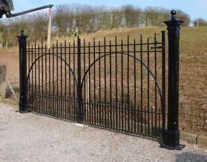 Pair of Antique Reclaimed Wrought Iron Gates - Driveway Entrance