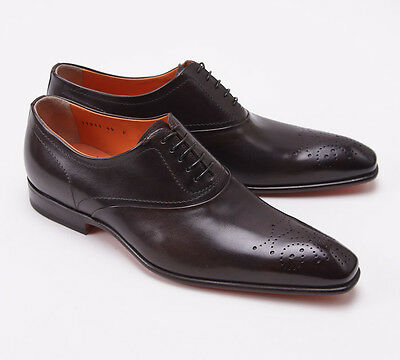 Nib  990 Santoni Fatte A Mano Dark Brown Medallion Tip Balmoral Us 7 5 D Shoes