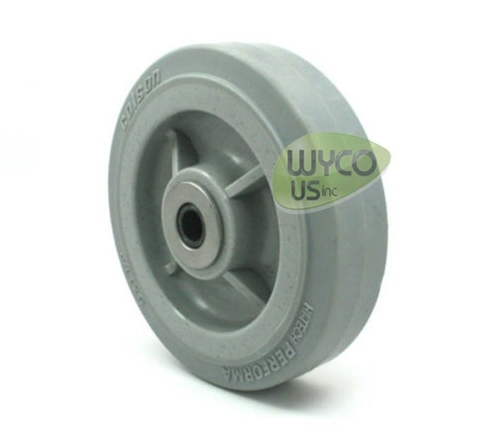 """SOFT & QUIET POLY WHEEL BY COLSON 6""""X1.5"""", ROLLER BEARING, 3/8"""" ID"""