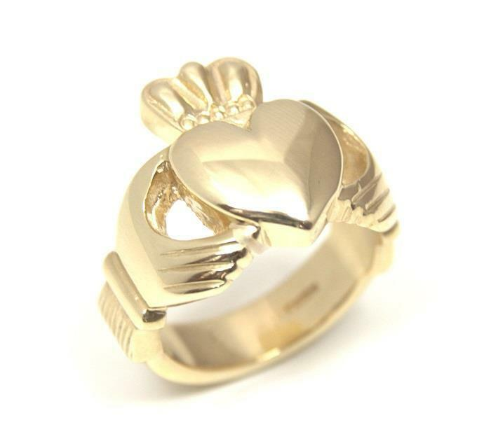 Claddagh Ring 9ct Gold Chunky Heavy Ring Fully UK Hallmarked Large Sizes 15g
