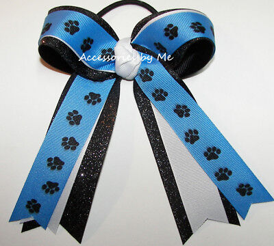 Carolina Blue Paw Print Bow Ponytail Streamers Tigers Panthers Wildcats Cougars ()