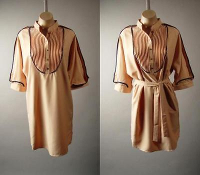 - Stand Collar Pintuck Pleat Bib Yoke Work Office Shift Shirt 275 mv Dress S M L