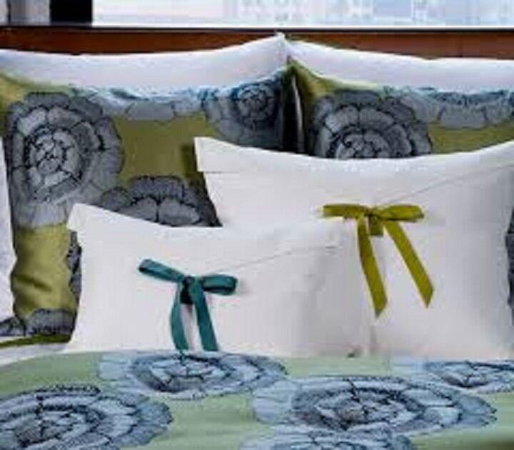 "NWT Ann Gish Linen Standard Sham w/ Grosgrain Tie ""Almost White with Ocean"" $150"
