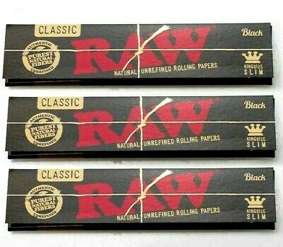 3 Packs Raw Black King Size Slim Rolling Papers Natural Unrefined *BEST
