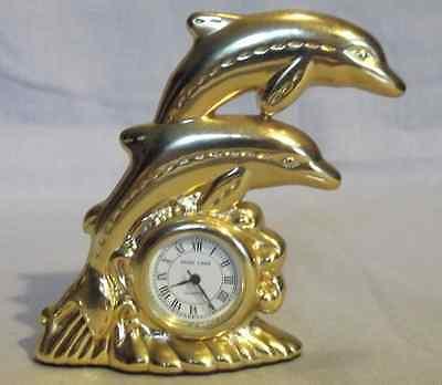 Miniature Brass Clock - Dolphin