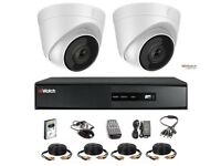HiWatch by Hikvision 2 Camera Kit - 2mp Dome 40M IR Full HD 1080p 4 Channel DVR & Cable
