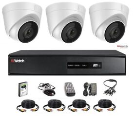 HiWatch by Hikvision 3 Camera Kit - 2mp Dome 40M IR Full HD 1080p 4 Channel DVR & Cable