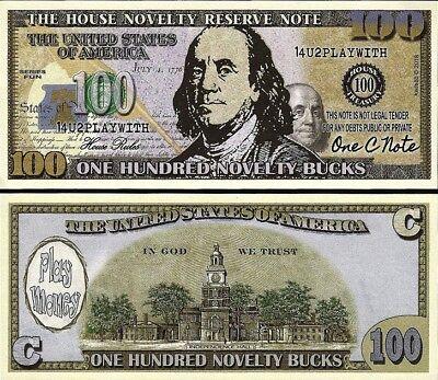 $100 Hundred Dollar Bill Play Funny Money House Novelty Reserve Note FREE SLEEVE - Play Money 100 Dollar Bills