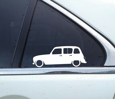 2x Lowered car silhouette stickers - for Renault 4 | 4L | R4 | GLT Classic
