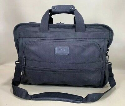 "Used TUMI Alpha Black Ballistic Nylon 17"" BRIEFCASE #225D3 Messenger Travel Bag"