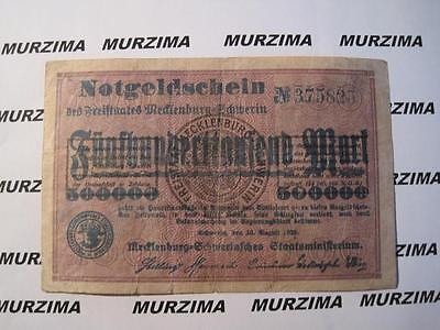 Mecklenburg -Schwerin, Freistaat, 500.000 Mark, 1923 Notgeld *