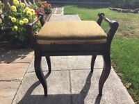 Vintage Antique Piano Stool with handles, probably mahogany, in VGC