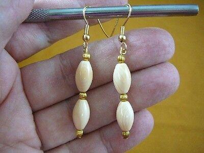 - (EE-488-8) Rare ivory Helmet Shell oval 13x7 mm bead dangle hook gold earrings