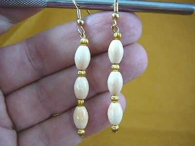 - EE-488-12) Rare tan ivory Helmet Shell 9x6 mm oval 3 bead dangle gold earrings