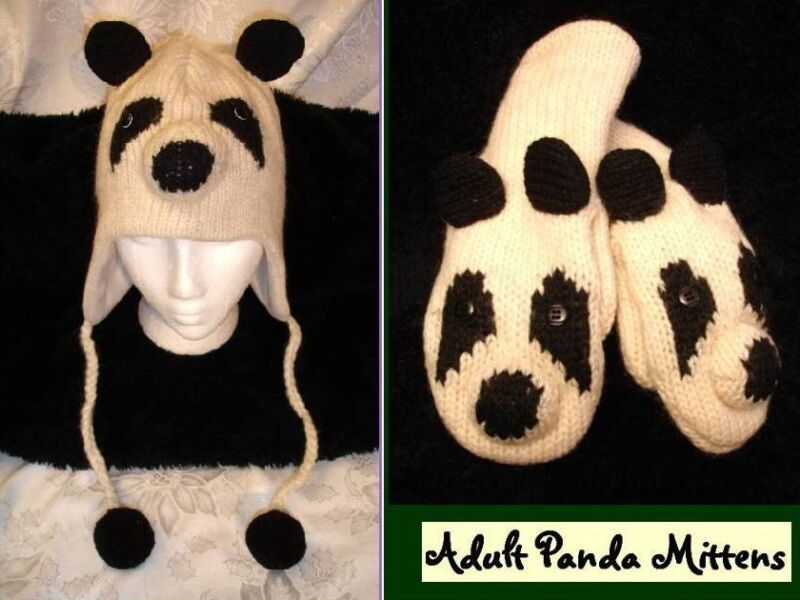 deLux PANDA HAT & MITTENS SET knit ADULT animal costume LINED men women people
