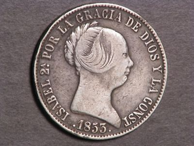 SPAIN 1853 20 Reales Silver F-VF