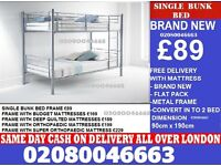 SINGLE DOUBLE DECKER WHITE WOODEN BUNK BED FRAME WITH MATTRESS