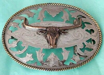 VTG LADIES ALPACA **LONGHORN STEER** OPEN FILIGREE WESTERN COWGIRL BELT BUCKLE