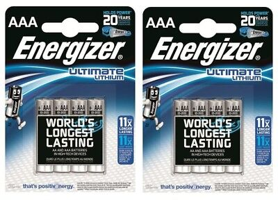 8 x AAA ENERGIZER ULTIMATE LITHIUM BATTERIES PHOTO DIGITAL CAMERA 2037 FREEPOST ()