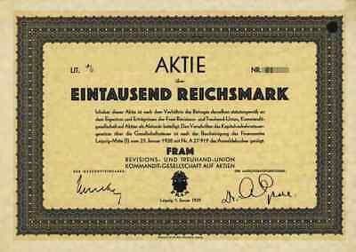 FRAM Revisions & Treuhand Union KGaA 1929 Leipzig Sachsen Kurt Säuberlich Druck