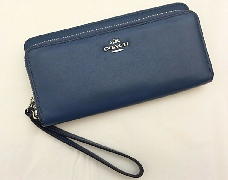 COACH CONTINENTAL SMOOTH LEATHER DOUBLE ACCORDION ZIP WRISTLET WALLET