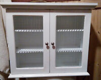 IKEA WHITE BATHROOM CABINET WITH BEVELLED GLASS DOORS