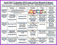 April events at The East Branch Public Library