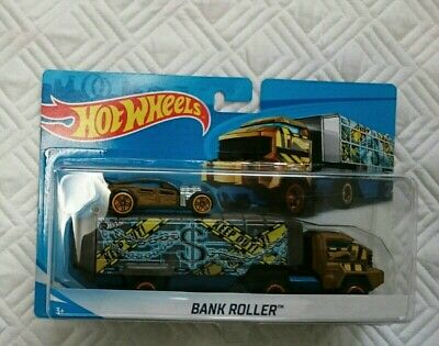 HOT WHEELS TRAILER BANK ROLLER COIN BANK CAR INCLUDED DIE CAST 2018