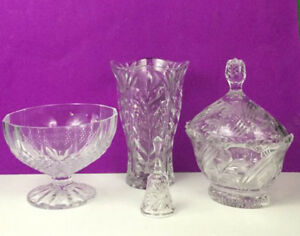 Large 4 Piece Crystal Glass Bundle