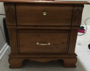 Vintage ornate hand carved bedside table with 2 drawers