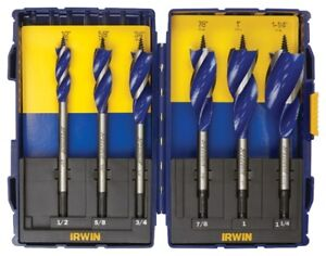 IRVIN SPEEDBOR MAX 6-pc Wood Tri-Flute Speed Drill Bit Set