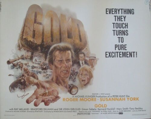 GOLD half sheet movie poster 22x28 ROGER MOORE 1973