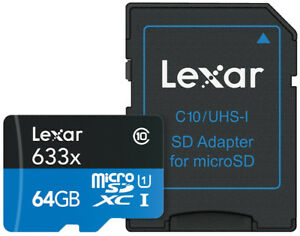 Lexar 64 GB 633X Micro SD Card with Adapter