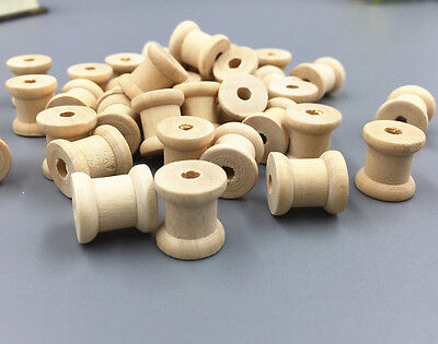 50pcs Wooden Sewing Tools Empty Thread Spools  Sewing Notions 13mm x14mm