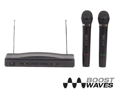 Dual Microphone System Wireless Professional Karaoke Kit Cordless 2 Mics Pro