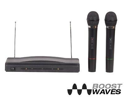 Dual Microphone System Wireless Professional Karaoke Kit Cordless 2 Mics Pro