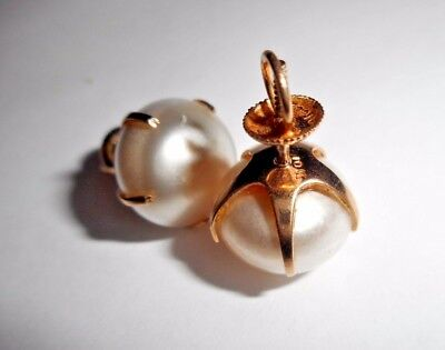 Antique Victorian 10K Gold Natural Pearl (13mmx9mm) Screw Back Post Earrings