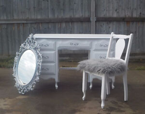 FRENCH PROVINCIAL 3 PIECE VANITY/ DESK -WINTER WHITE SOLID WOOD
