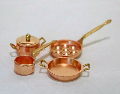 Konvolut Set 4 Küchenteile Pfanne Topf etc 1:12  Puppenstube  Kupfer