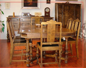 1920's Knechtel Furniture Co. antique walnut dining set.