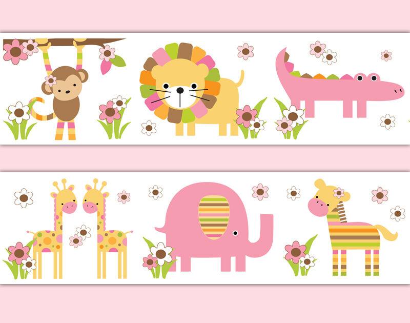 safari幼儿园装饰墙纸边界贴花女孩丛林动物墙贴纸