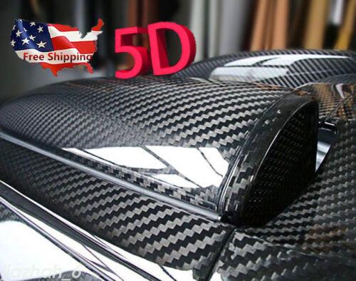 Car Parts - 5D Parts Accessories Glossy Carbon Fiber Vinyl Film Car Interior Wrap Stickers