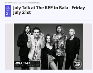 8 Tix to JULY TALK (SOLD OUT SHOW) July 21st,'17 at the KEE