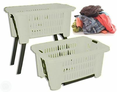 White Laundry Hamper Basket With Folding Legs Storage Washing Linen Bin Plastic