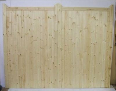 Driveway Gate Bespoke Wooden Timber Softwood Square Top With Horns 84