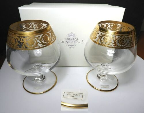 St Louis Crystal - France THISTLE Brandy Glasses (2) NEW in BOX